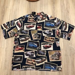 VINTAGE BUTTON UP W/CLASSIC AUTOMOBILE/CAR PRINT